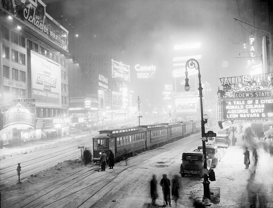 Streetcars Are Stuck At W. 45th St. In Photograph by New York Daily News Archive