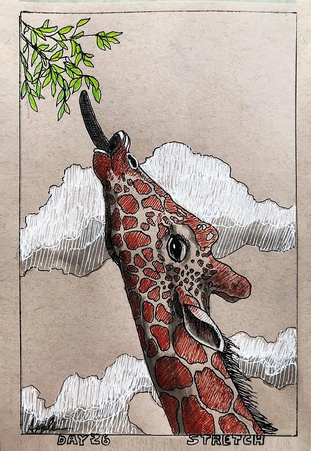 Stretch - giraffe by Linda Apple