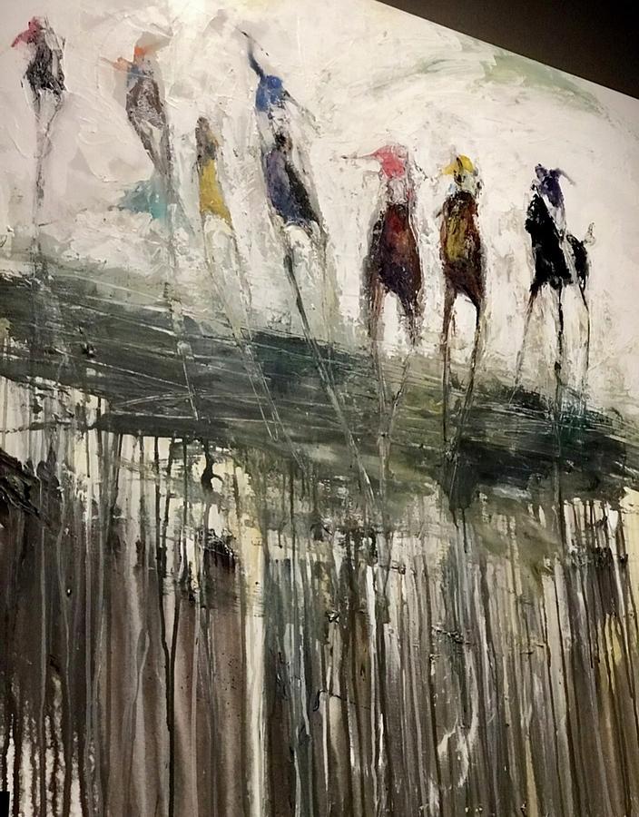 Stretch Run Blue Painting by Heather Roddy
