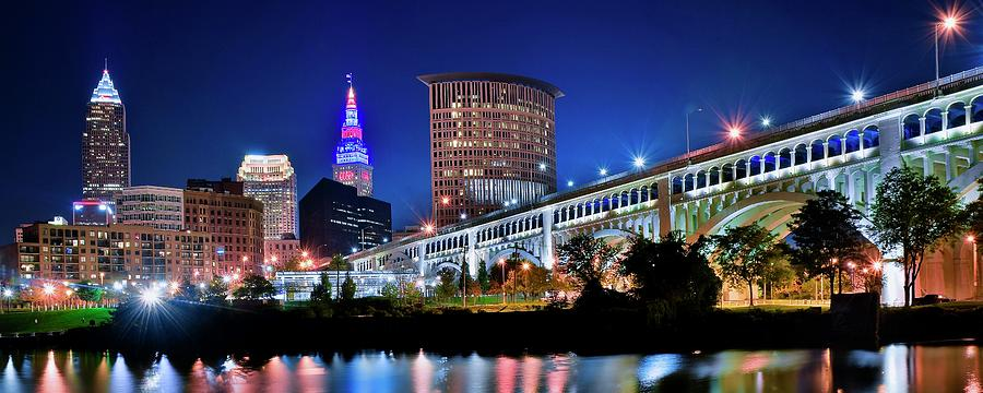 Cleveland Photograph - Stretching Out On A Colorful Night by Frozen in Time Fine Art Photography