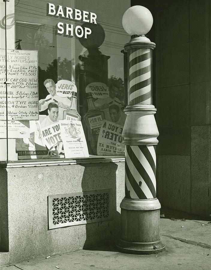 Striped Barber Pole Outside Shop, B&w Photograph by George Marks