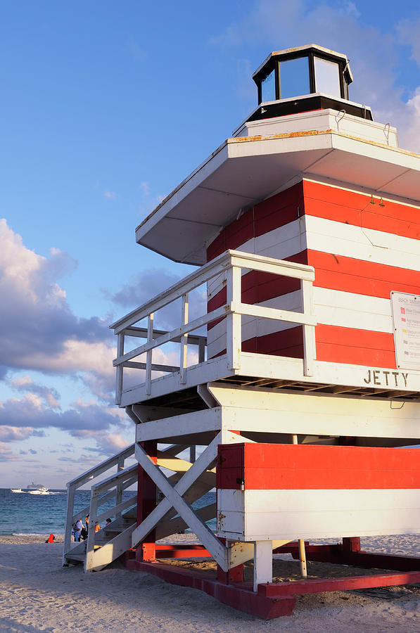 Striped Lifeguard Station In Miami Beach Photograph by Boogich