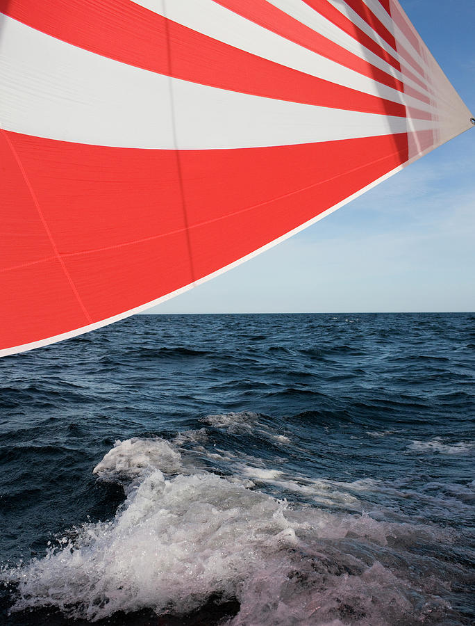 Striped Spinnaker In Sea Photograph by Bjurling, Hans
