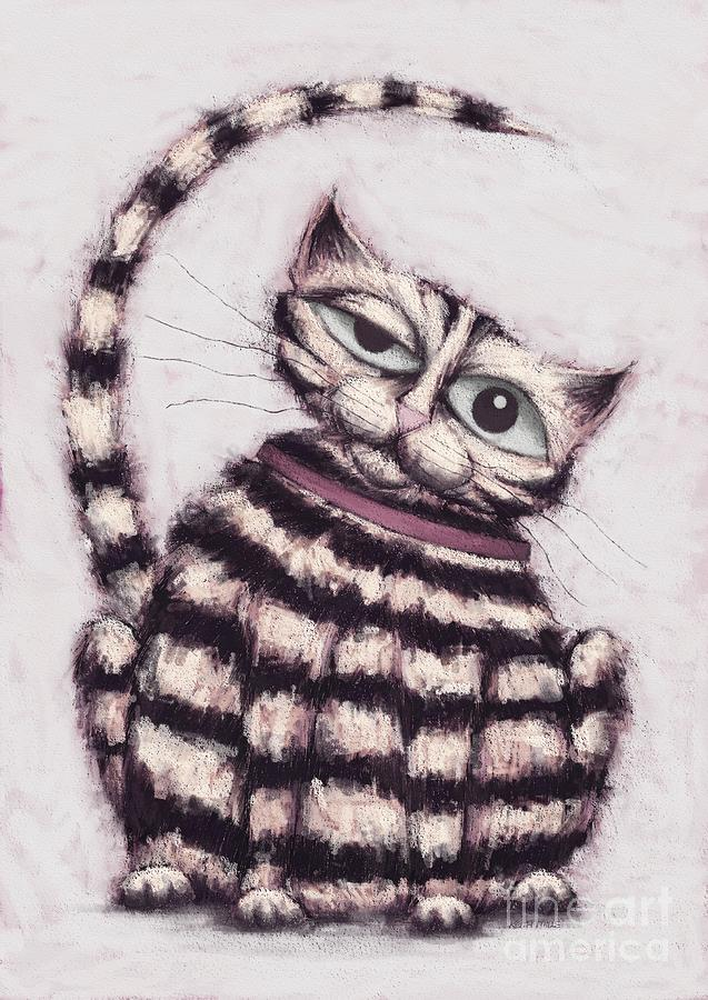 Cat Digital Art - Stripey Tom by Keith Mills