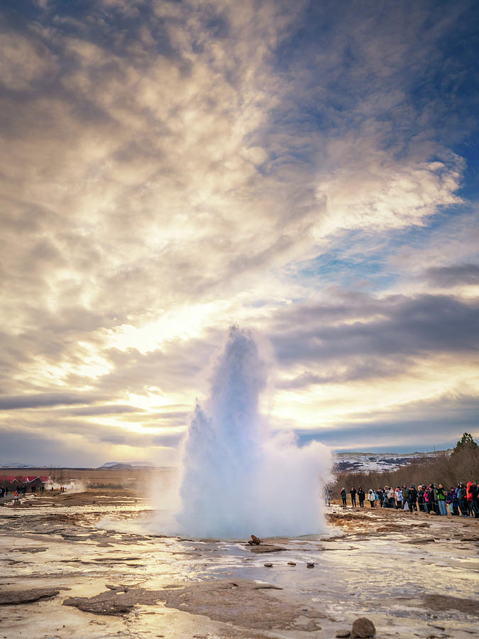 Iceland Photograph - Strokkur Erupting  by Framing Places