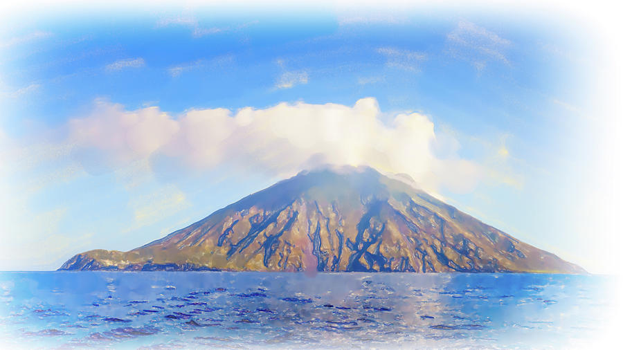 Stromboli Island Watercolor Digital Art