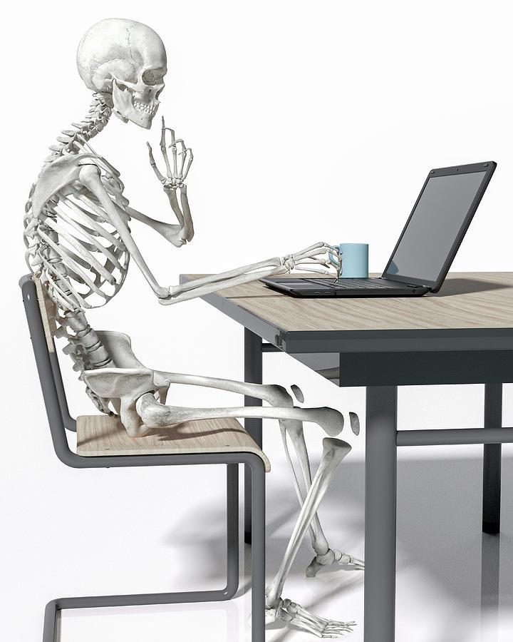 Skeleton Digital Art - Stuck At The Office by Betsy Knapp
