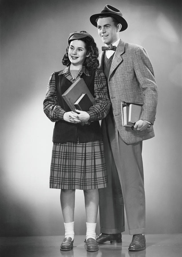 Student Couple Posing In Studio, B&w Photograph by George Marks
