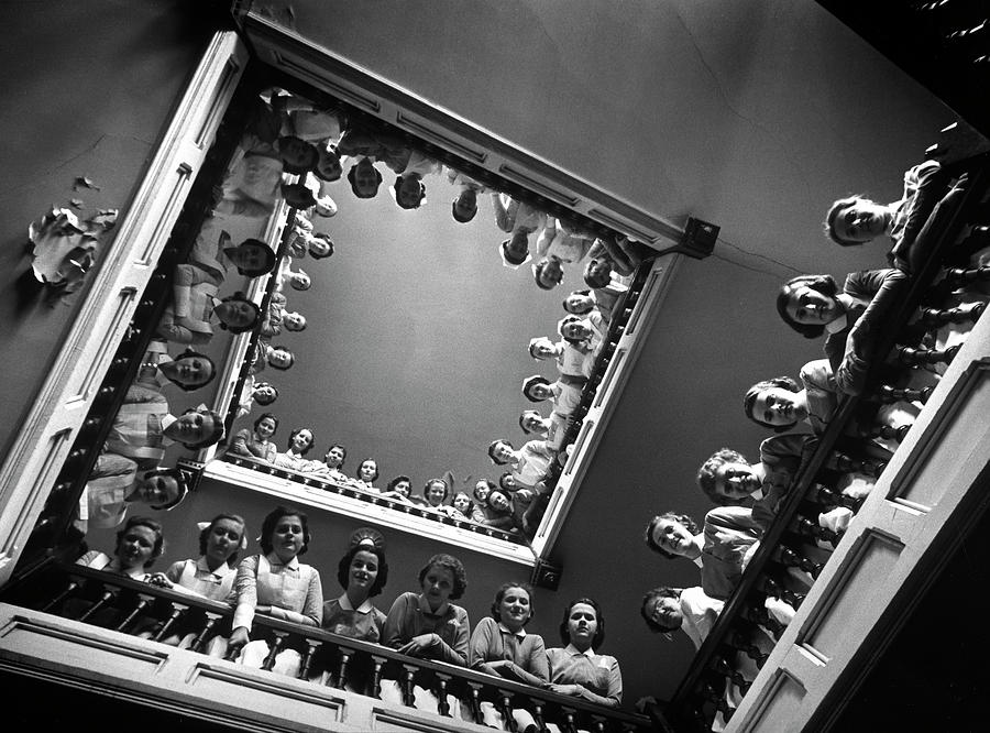 Student Nurses Lining The Railings Of Photograph by Alfred Eisenstaedt