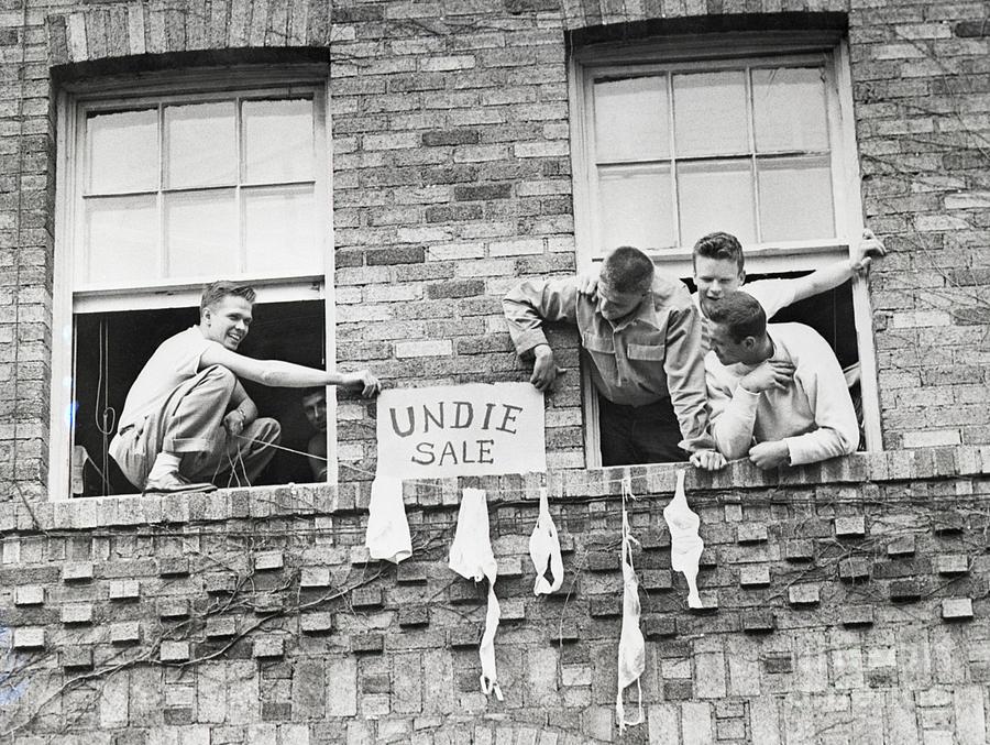 Students Hang Lingerie Out Dorm Window Photograph by Bettmann