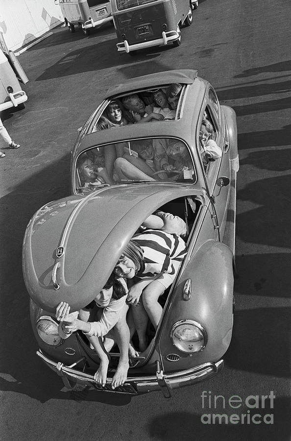 Students Packing Into A Volkswagen Photograph by Bettmann