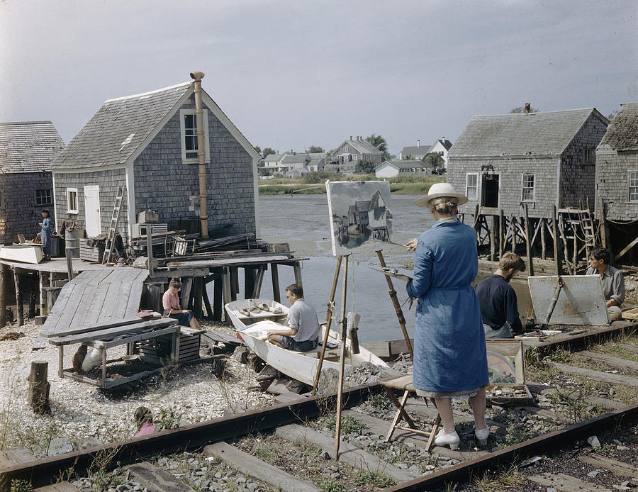 Students Painting At The Harbor Photograph by Andreas Feininger
