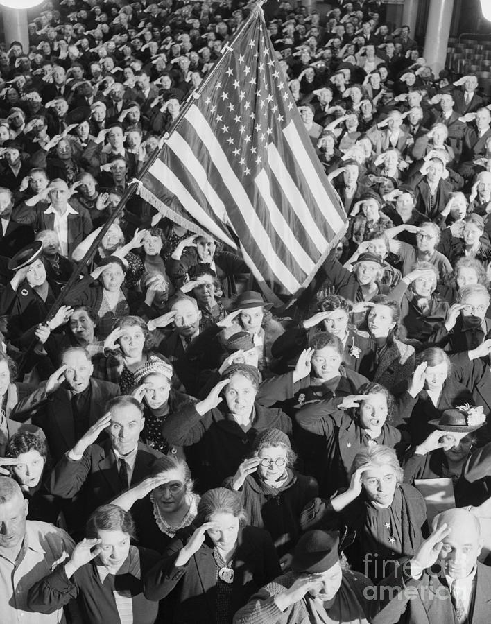 Students Saluting Under American Flag Photograph by Bettmann