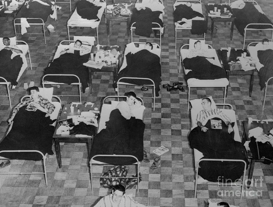 Students Suffering From Flu On Cots Photograph by Bettmann