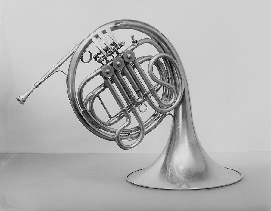 Studio Shot Of French Horn Photograph by George Marks