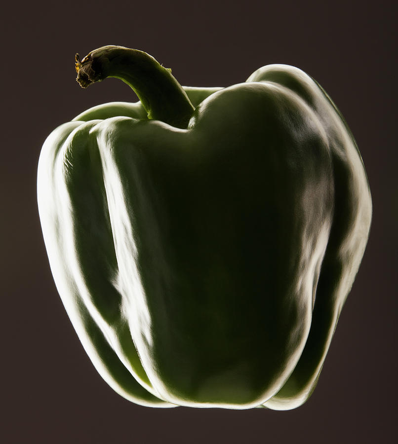 Studio Shot Of Green Bell Pepper Photograph by Mike Kemp