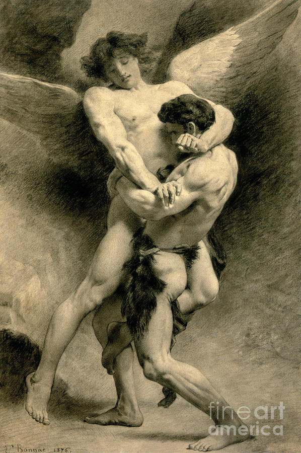 Nude Drawing - Study For Jacob Wrestling With The Angel, 1876 by Leon Joseph Florentin Bonnat