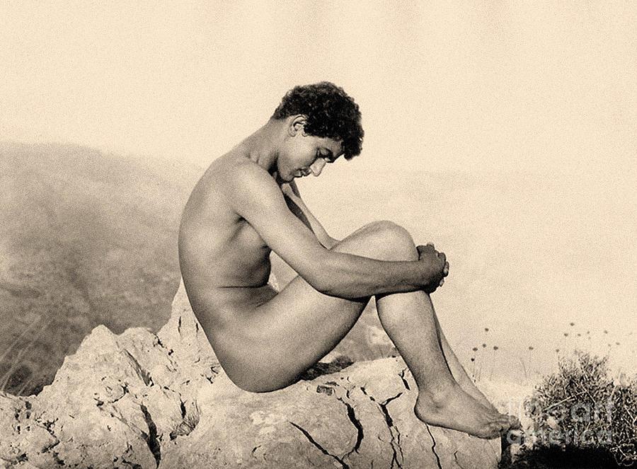 Barren Photograph - Study Of A Male Nude On A Rock, Taormina, Sicily, Sepia Photo by Wilhelm von Gloeden