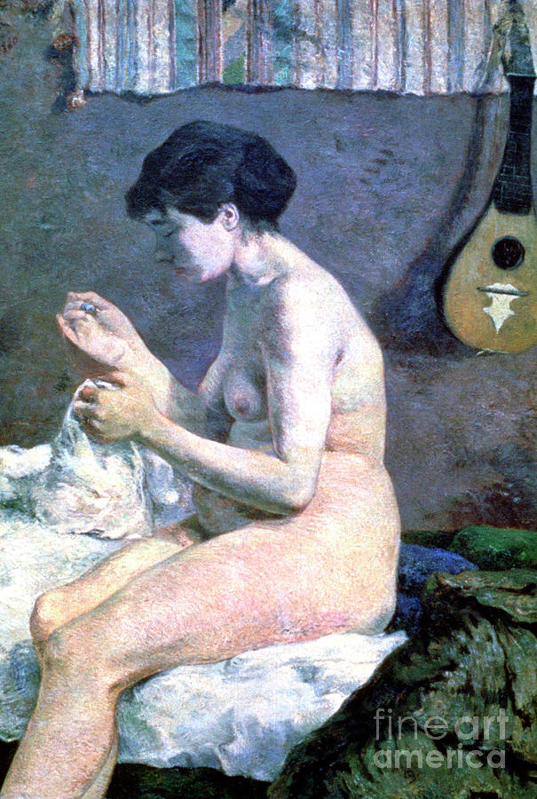 Study Of A Nude, 1880. Artist Paul Drawing by Print Collector