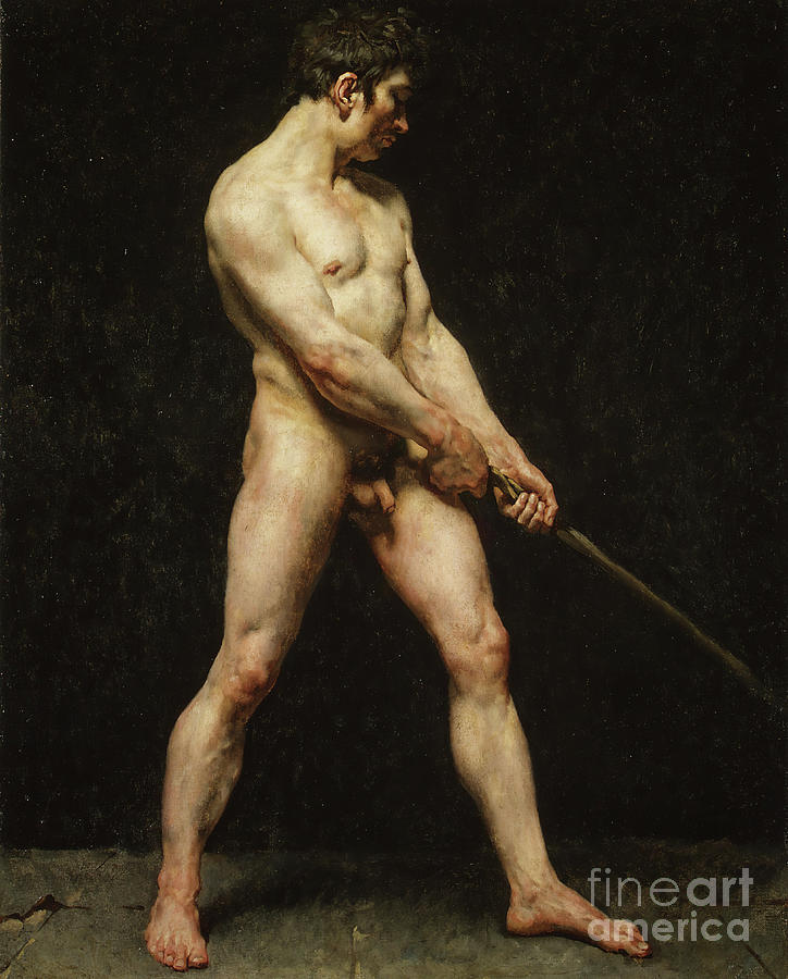 Study Of A Nude Man Drawing by Heritage Images