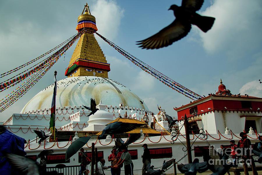 Stupa Bodhnath Kathmandu, Nepal - October 12, 2018 by Raimond Klavins