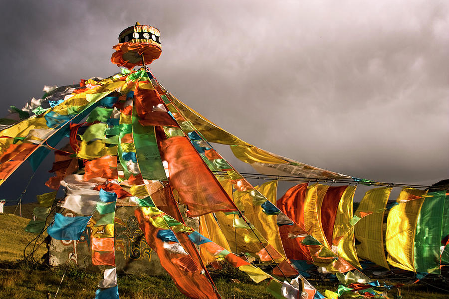 Stupa, Buddhist Altar In Tibet, Flags Photograph by Stefano Tronci