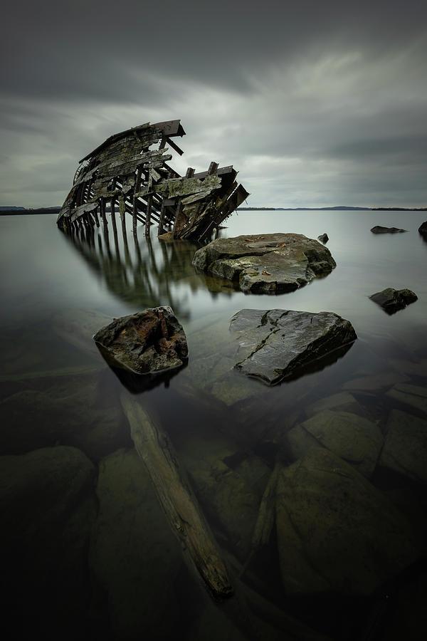 Abandoned Photograph - Sturgeon Bay Shipwreck in November Gloom by Jakub Sisak