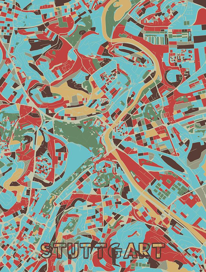Stuttgart Digital Art - Stuttgart Map Retro 3 by Bekim M
