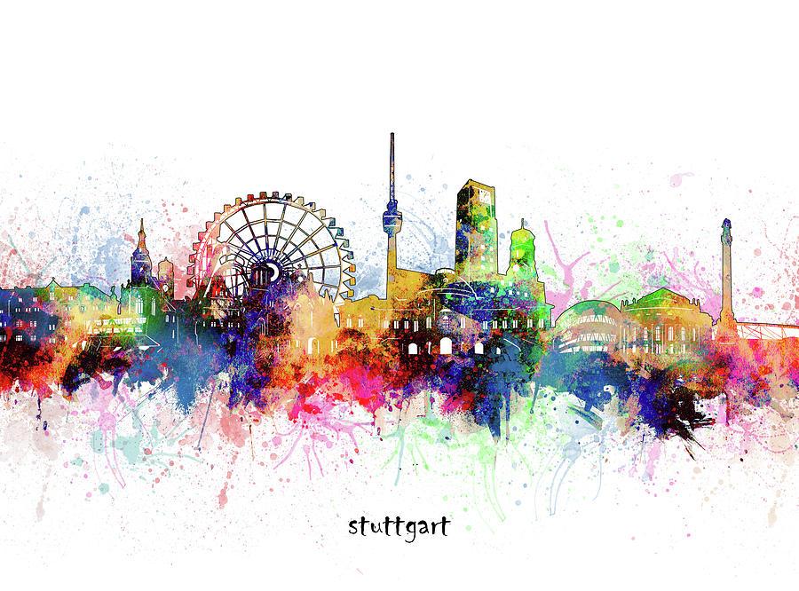 Stuttgart Digital Art - Stuttgart Skyline Artistic by Bekim M