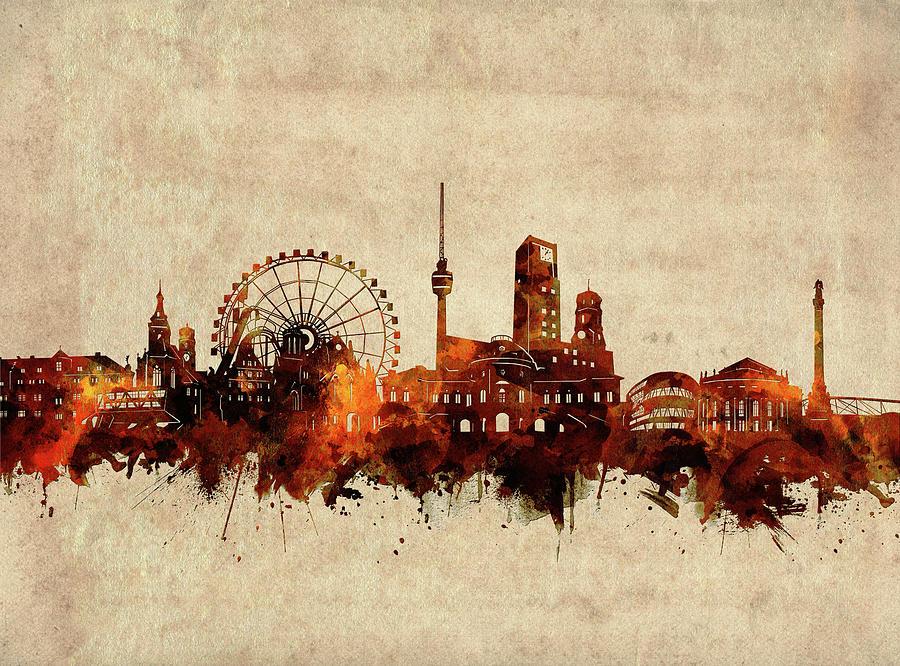 Stuttgart Digital Art - Stuttgart Skyline Sepia by Bekim M