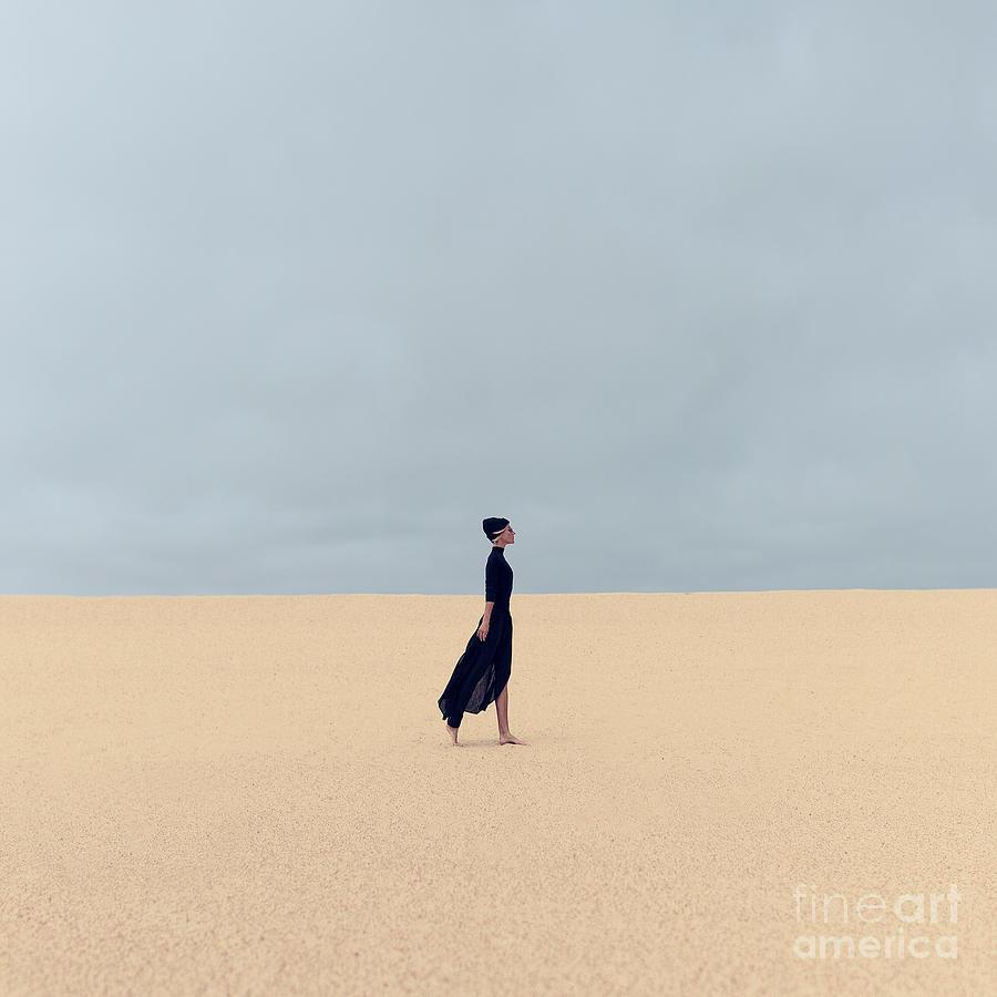 Dress Photograph - Stylish Girl In Black Clothes Walking by Evgeniya Porechenskaya