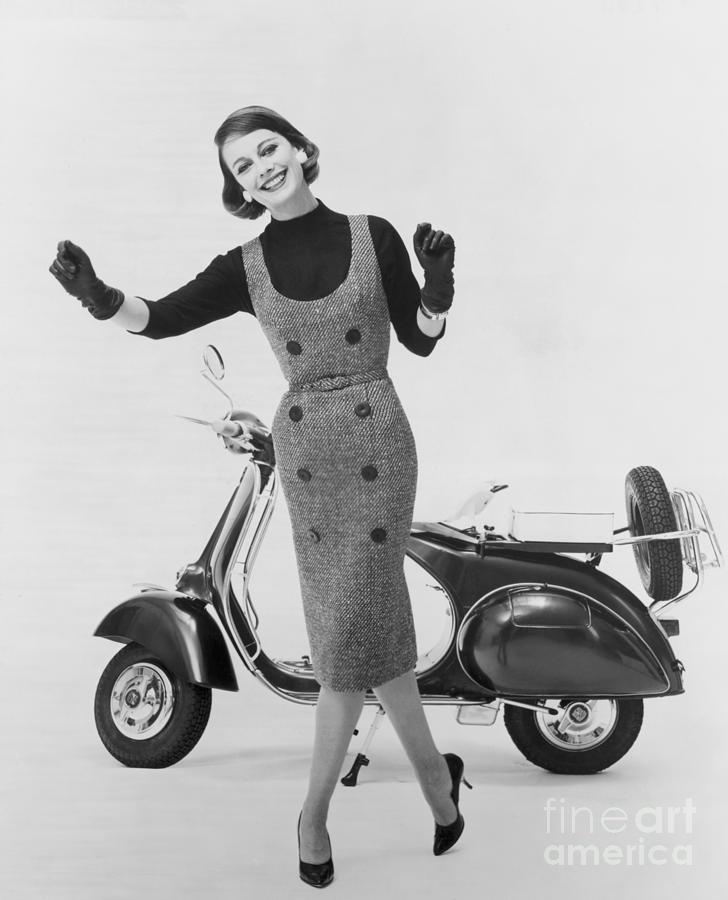 Stylish Woman And Scooter Photograph by Bettmann