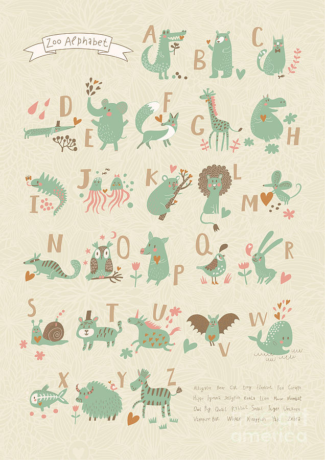 Snail Digital Art - Stylish Zoo Alphabet In Vector. Lovely by Smilewithjul