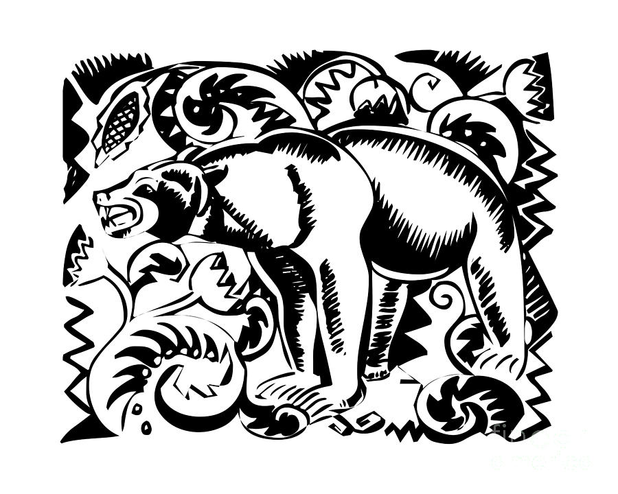 Stylized Black and White Bear Silhouette by Rose Santuci-Sofranko