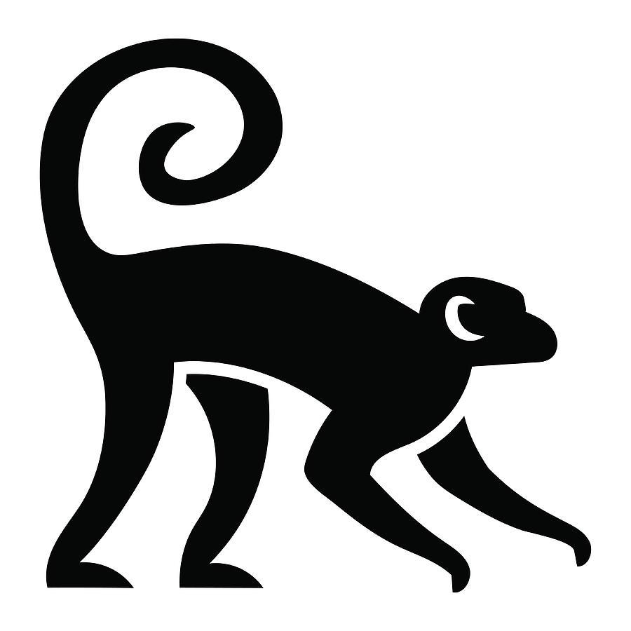 Stylized Monkey Illustration Isolated Digital Art by Aratehortua