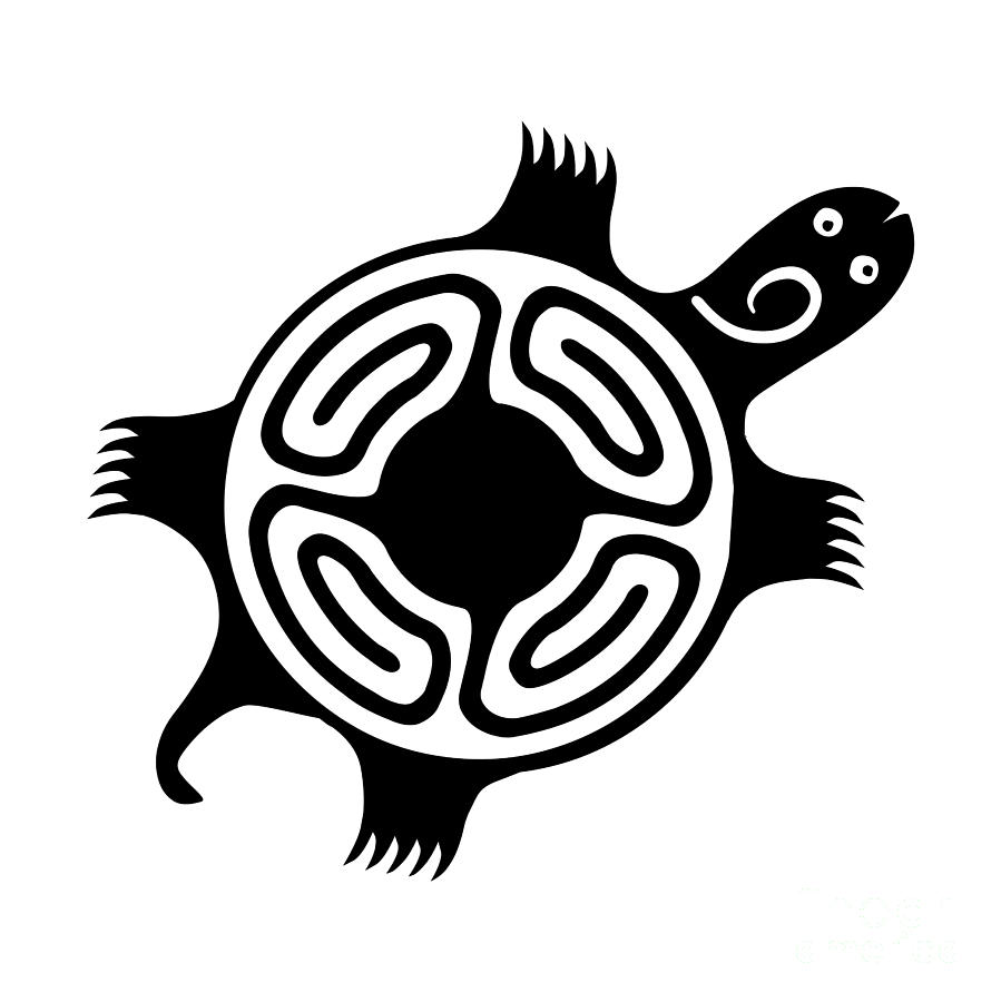 Stylized Turtle Black and White Silhouette 1 by Rose Santuci-Sofranko