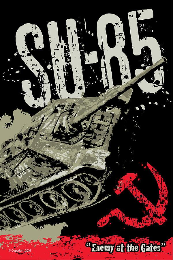Armor Digital Art - Su-85 Russian Tank Destroyer by Philip Arena