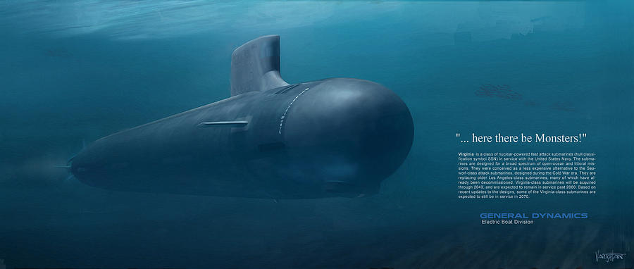 Sub - Virginia class - here there be- paint - text- by James Vaughan