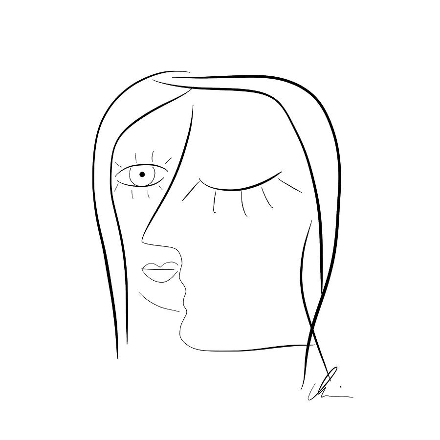 Subconscious - digitally signed line drawing by Marianna Mills