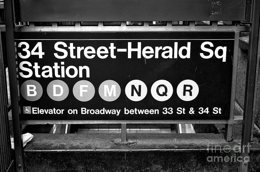 34th Street Photograph - Subway Station At Herald Square New York City by John Rizzuto