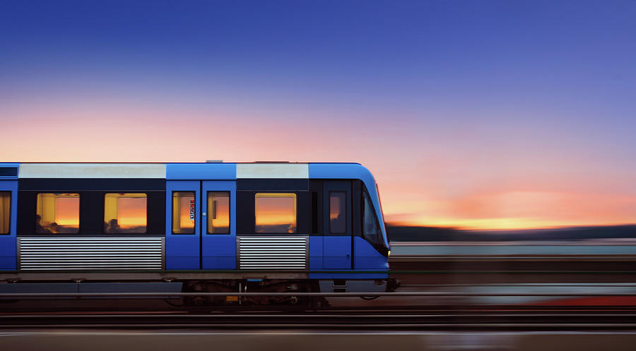 Subway Train In Profile Crossing Bridge Photograph by Olaser