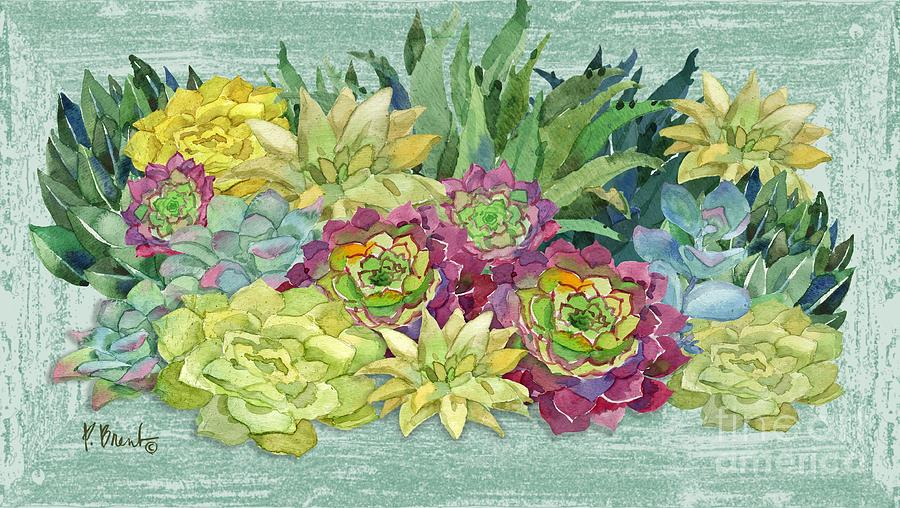 Watercolor Painting - Succulent Box by Paul Brent