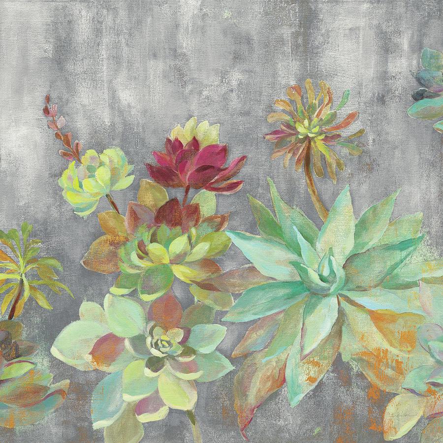 Brown Painting - Succulent Garden Gray Crop by Silvia Vassileva