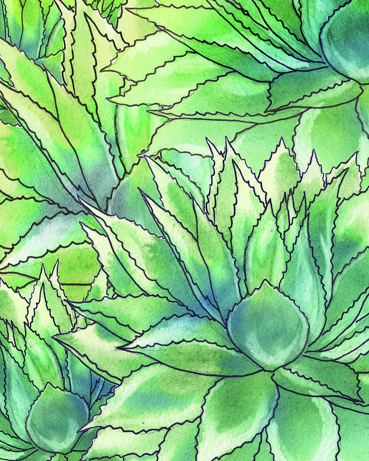 Succulent Garden Watercolor Composition II Painting