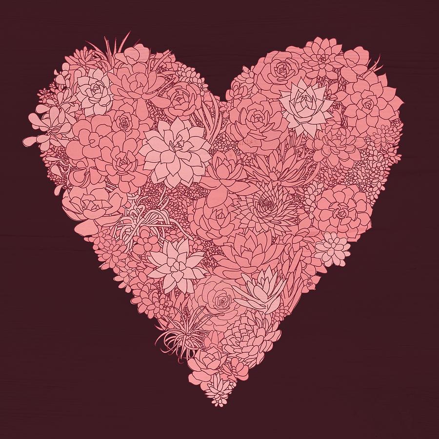 Pink Succulent Heart Dark Background by Jen Montgomery