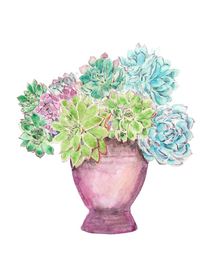 succulent in pot painting by Color Color