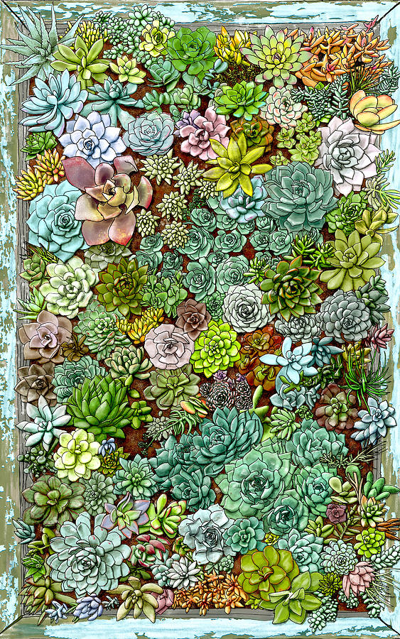 Succulent Painting - Succulent Wall by Jen Montgomery