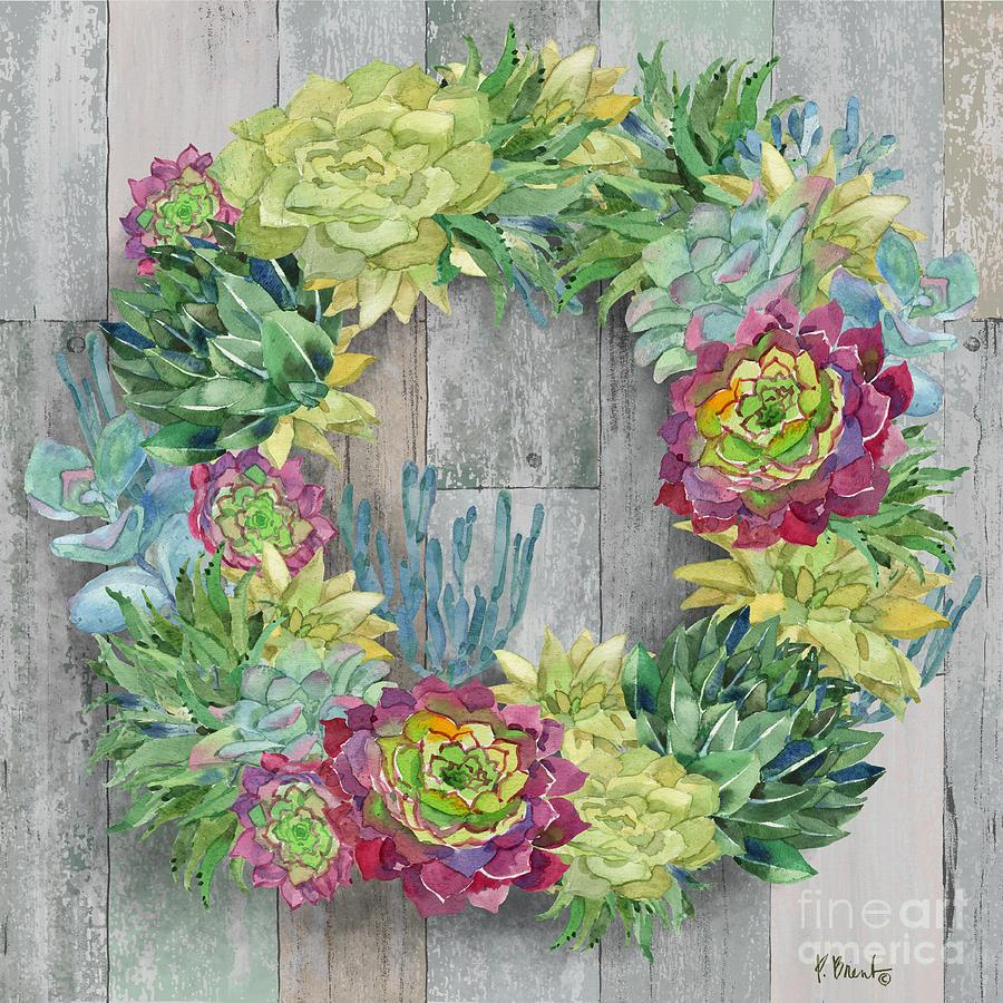 Watercolor Painting - Succulent Wreath I by Paul Brent
