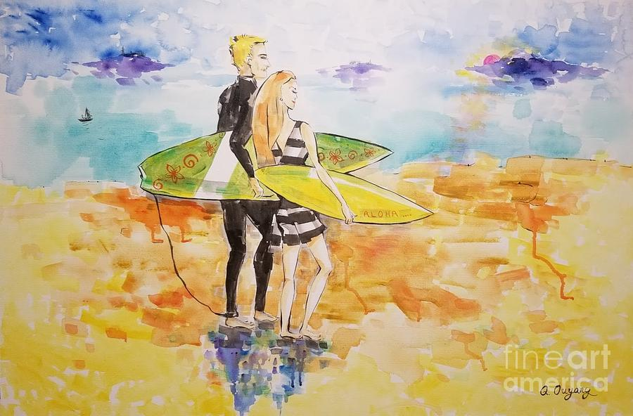 Surfer Painting - Surfer Couple by AQQ Studio