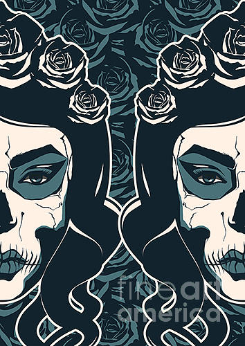 Makeup Digital Art - Sugar Skull Girl With Paint For Day Of by Pevuna